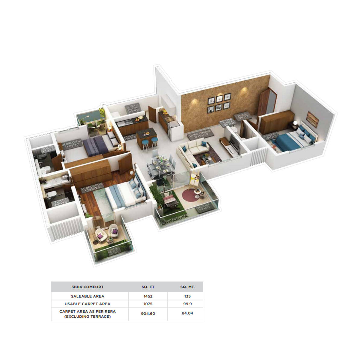 puravankara 2bhk floor plan